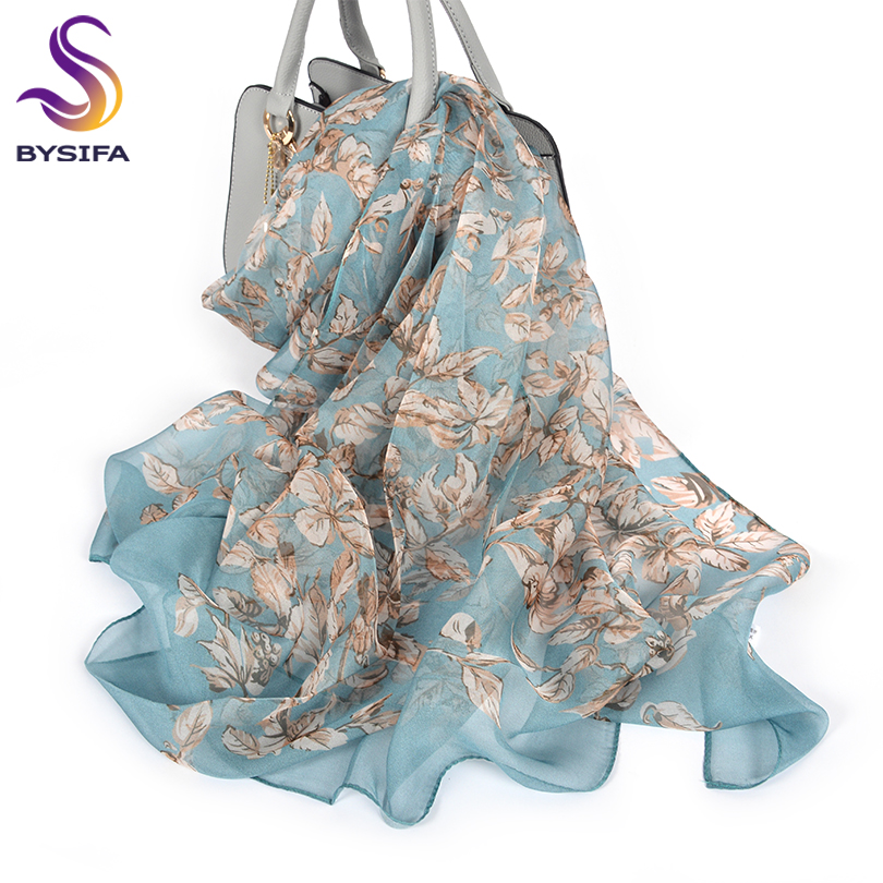 [BYSIFA] 100% Silk Chiffon Scarf Female Brand Leaves Design Grey Khaki Long Scarves Beach Shawls Fall Winter Women Neck Scarves(China)