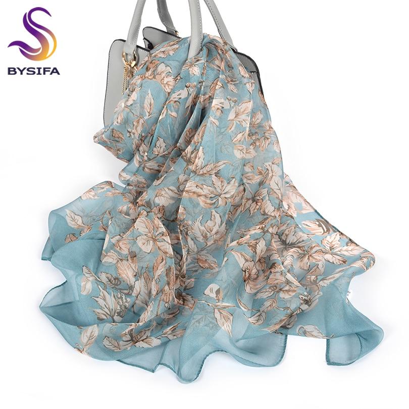 [BYSIFA] 100% Silk Chiffon Scarf Female Brand Leaves Design Grey Khaki Long Scarves Beach Shawls Fall Winter Women Neck Scarves Women