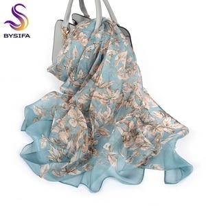 Image 1 - BYSIFA écharpe 100% en mousseline de soie pour femmes, écharpe de cou de marque, Design, feuilles, gris, kaki, châle de plage, automne et hiver