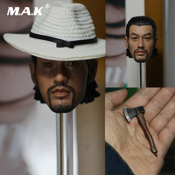 1/6 Scale Male Head Sculpt Kung Fu Danny Kwok Kwan Chan Rogue Scorpion Mix with Hat and Ax Model Toys for 12'' Man Figure