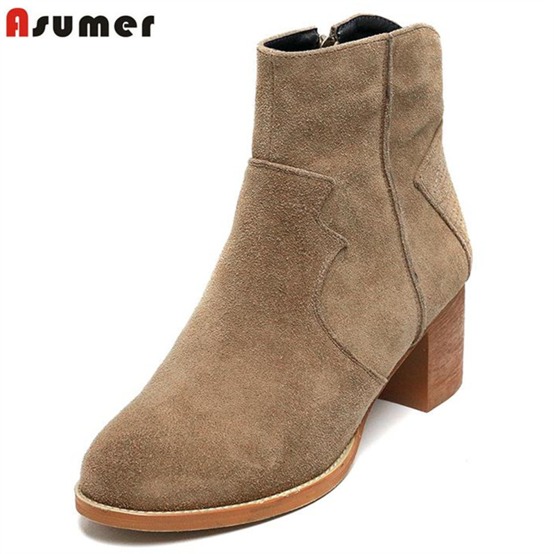 ФОТО ASUMER 2017 new fashion women ankle boots with high quality cow suede leather sweet round toe popular square heels shoes