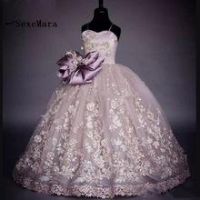 22bf3c7196e Beauté pourpre Pageant robes pour filles fleur Fille robes Robe de bal  Communion robes 2018 Robe Fille