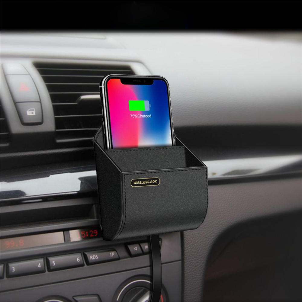 Qi Car Wireless Charger Storage Box For Iphone XS X 8 Plus