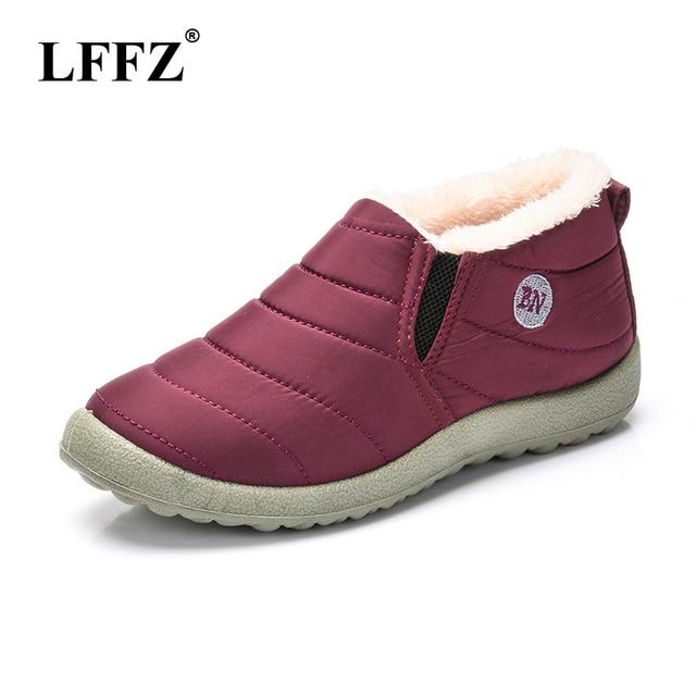 LFFZ 2018 nuevo impermeable zapatos de invierno de mujer botas para la nieve caliente Piel Interior antideslizante Fondo mantener caliente casuales de la madre botas ST228