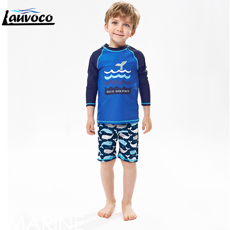 Boys Swimwear Two Pieces Kids Swimming Wear Print Long Sleeve Swimsuit Sport Boys Large Size 2XL