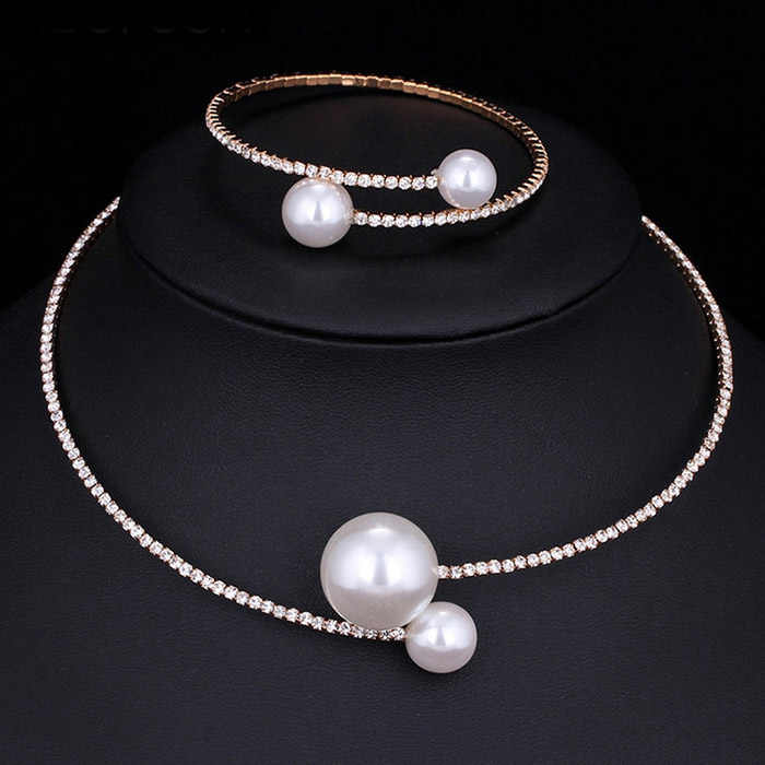 Fashion Women Simple Simulated Pearl Bridal Jewelry Sets Crystal Wedding Necklace+Bracelet Set KQS8