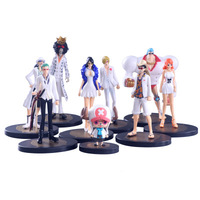 9pcs/set Japanese Anime One Piece FILM GOLD White Cloth PVC Action Figure Collectible Model Toy