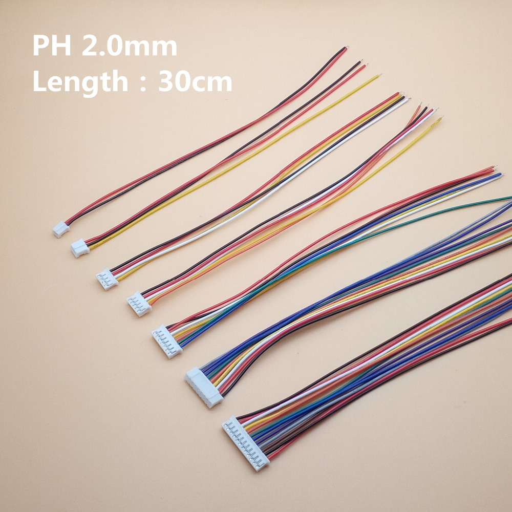 10pcs/lot JST PH 2.0 2/3/4/5/6/7/8/9/10 Pin Pitch 2.0mm Connector Plug Wire Cable 30cm Length 26AWG