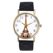 Senhoras Colorido Paris Torre Eiffel Projeto Relógio de Forma Das Mulheres Do Falso Couro Analógico Quartz Relógio de Pulso Montre Femme 2016 #77