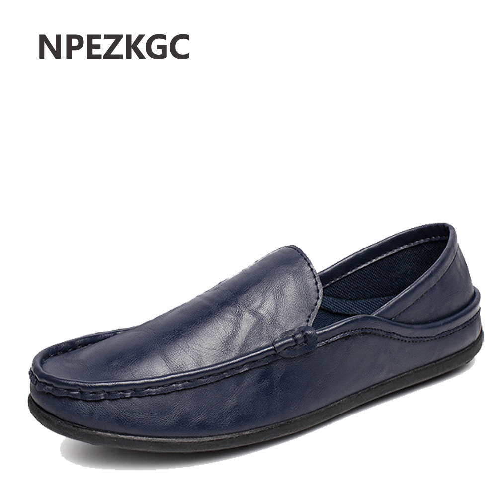 NPEZKGC Summer Style High Quality PU Leather Men Shoes Soft Moccasins Loafers Fashion Brand Men Flats Comfy Driving Shoes smart set top box t95zplus octa core s912 2gb 16gb tv box media player wifi android iptv box support h265 tv receivers stb