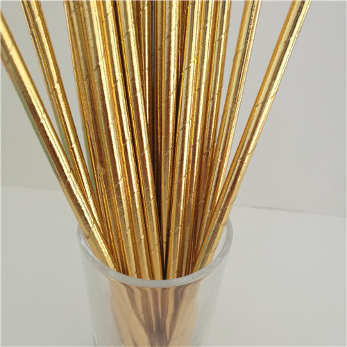 25Pcs Disposable Pure Color Bronzing Gold Silver Creative Wedding Supplies Birthday Event Party Decorating Beverage Paper Straw 2
