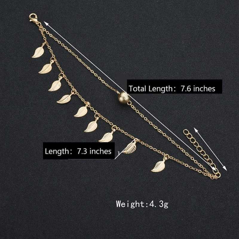Biżuteria dziewczęca obrączki plażowe wisiorek z liśćmi podwójna warstwa koraliki czeski stopka łańcuszek na akcesoria Boho bransoletka na nogę dla kobiet