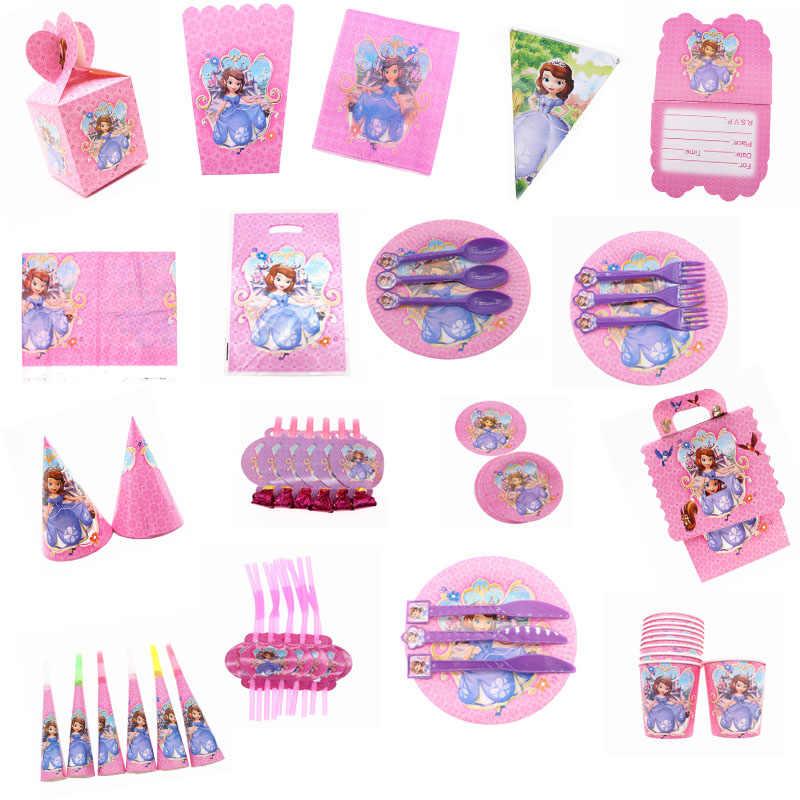 Juego de cubiertos de comida para fiesta de princesa de Sofia, juego de utensilios de baño para bebés, decoración de fiesta de cumpleaños para niños
