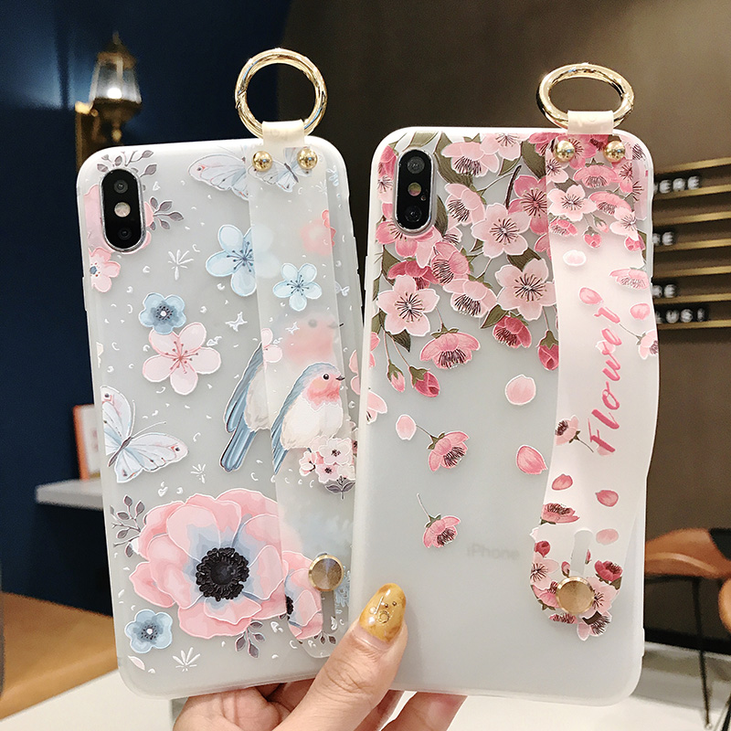 SoCouple Flower Soft TPU Wrist Strap Case For iphone 7 8 6 6s plus X Xs max XR Relief Floral Phone Holder Case Transparent Cover (10)