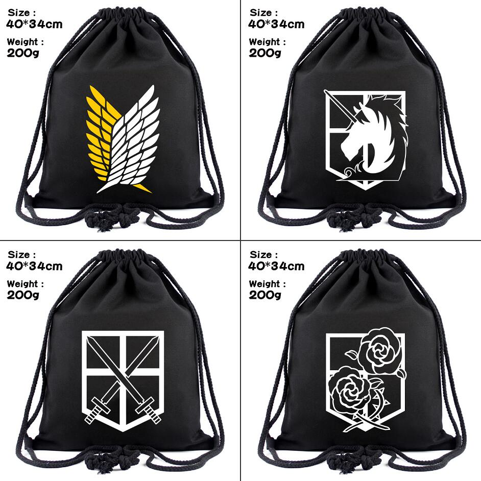 Attack On Titan Canvas Drawstring Bag Scout Regiment Logo Backpack Women Fashion Cosmetic Container Casual Beach Bag Shoes Pouch