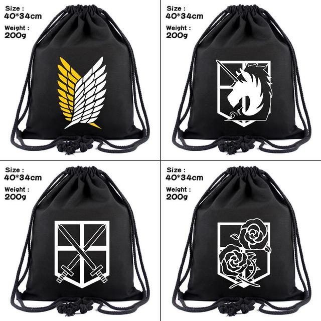 47f683c216c8 Attack on Titan canvas Drawstring bag Scout Regiment logo Backpack Women  Fashion Cosmetic Container casual Beach Bag Shoes Pouch