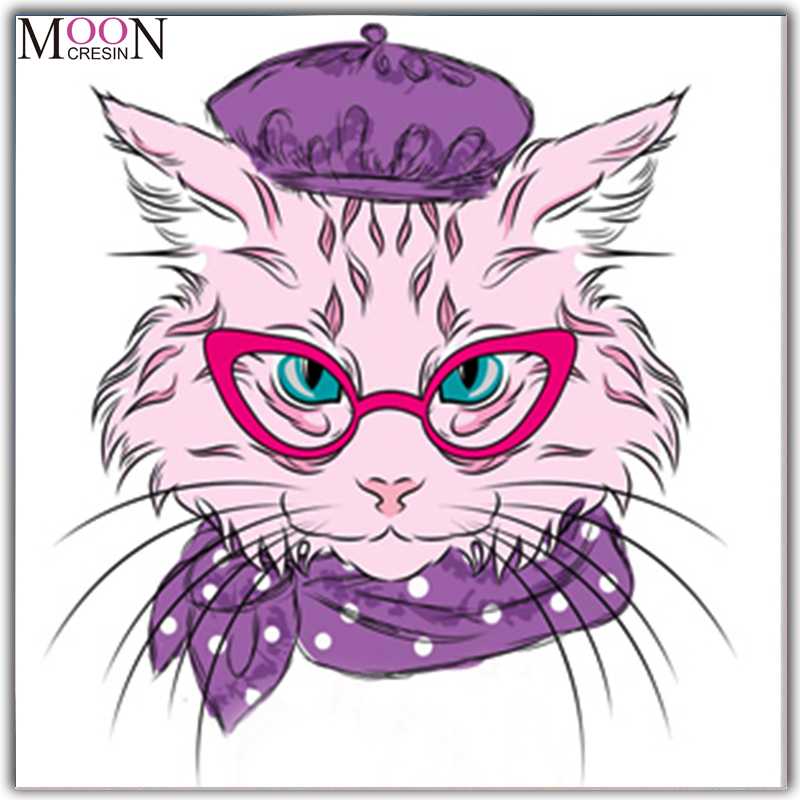 MOONCRESIN Diy Diamond Painting Cross Stitch Cat With Glasses Mosaic Full Round 3D Embroidery Decoration Cartoon
