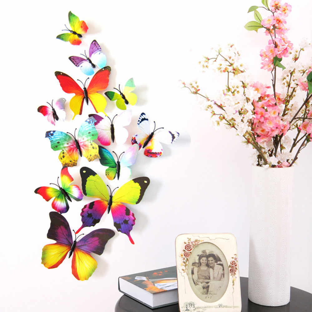 Wall Sticker Hot 12pcs Decal Wall Stickers Home Decorations 3D Butterfly Rainbow Wall Art Decoration Living Room