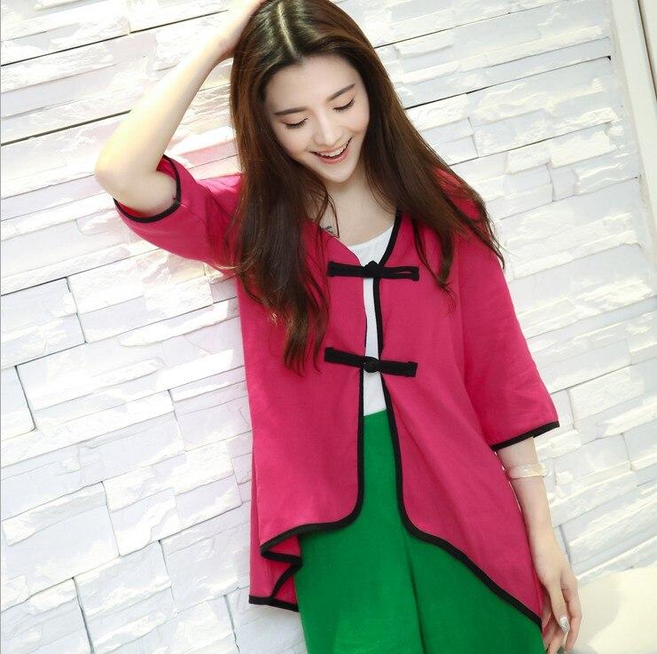 Primavera de estilo chino de lino puro blusa V cuello rana piping blusa suelta t