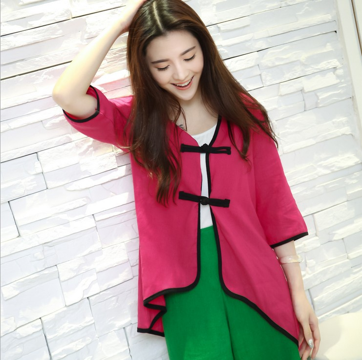 Spring chinese style pure linen blouse V collar frog piping blouse loose shirt tops 4 colors Size:M L