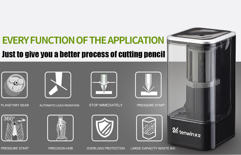 Electronic Pencil Sharpener With Auto Stop Safety Feature /& Large Pencil Holder