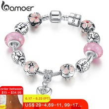 BAMOER Silver Charm Bracelet with Heart Pendant & Cherry Blossom Charm Pink Murano Glass Beads Friendship Bracelet PA1459(China)