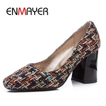 ENMAYER Pointed Toe Women Pumps High Heels shoes Spring Fashion Special pattern black and white Slip-On Big size ZYL125 shoes 3 inch stiletto pointed toe high heels plus size 2017 spring fashion women pumps 10 42 4 34 special 33 black mesh