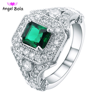 Fashion 925 Silver AAA CZ Rings Green White Zircon Classic Rings Top Quality Ring Fit Party And Wedding Fine Jewelry R-002