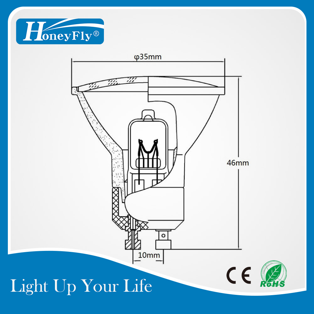 Купить с кэшбэком HoneyFly10pcs Dimmable Mini Halogen Bulb GU10 35W +C(35mm) 230V GU10 Halogen Lamp WarmWhite Spot Light GU10 Halojen Lamba Indoor
