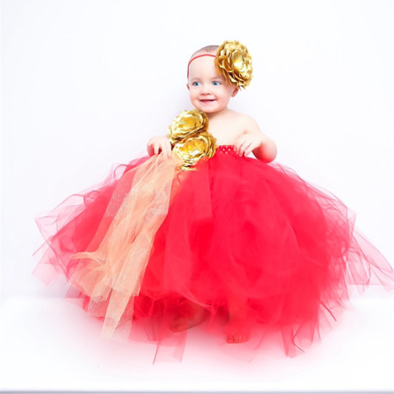 New Flower Girl Dresses For Weddings Black Red Girls Tutu Dress Princess Ball Gowns Kids Birthday Party Bridesmaid Tulle Dresses red new summer flower kids party dresses for weddings formal princess girl evening prom sleeveless girl bow mesh dress clothes