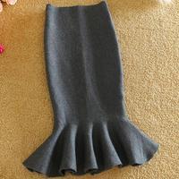 high waist knitted skirt fish tail mermaid skirt women slim fitted skirts Flounced package hip skirt spring autumn winter