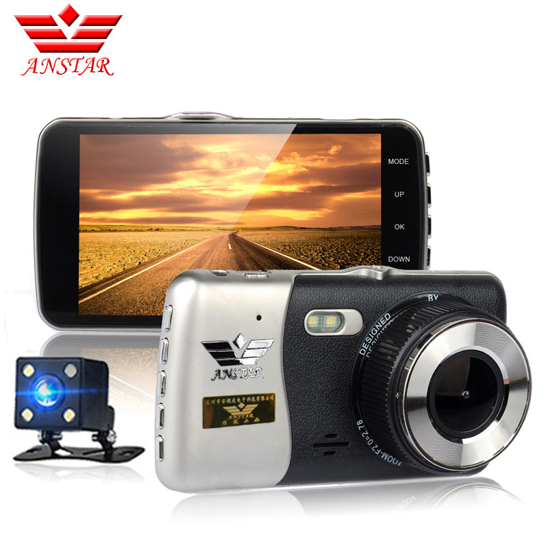 ANSTAR NEW Car DVR Dual Lens 4 Inch Car Camera Full HD 1080P Parking Monitor Night Vision Dash Cam Video Recorder Dash Camera