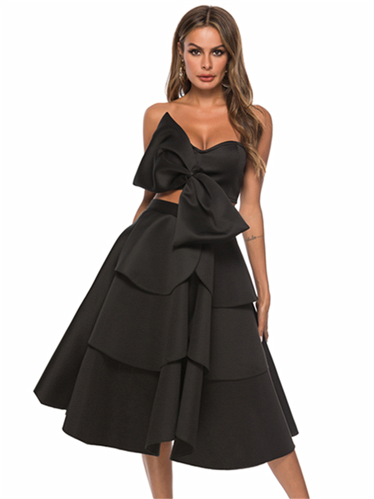 Women Summer 2 Pieces Sets Sexy Crop Tops Skirts Off Shoulder Backless Big Bowtie High Waist Swing Skirt Ruffle Night Party Jupe