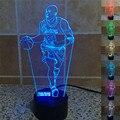 Lo nuevo de La Novedad 3D Visual de Acrílico Luz de la NBA Kobe Bryant Noche de Luz LED USB Lámpara de Mesa de Dormitorio Atmósfera Lámpara de Gradiente de Colores