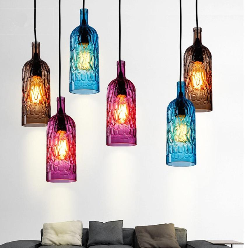 ФОТО Modern Colorful Wine bottle Led Pendant Light Brown/Rose Red/Blue glass Hanging Lamps Restaurant Cafe  Art Deco Pendant Lamps