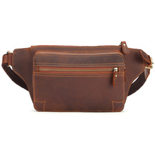 Genuine Leather Men's Fanny Waist Pack Leg Hip Hop Mini Waist Pouch Wallet Male Bum Belt Bag Large Capacity Tote Chest Bag Packs