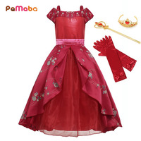 PaMaBa Little Girls Fantasy Elena of Avalor Cosplay Costume Off Shoulder Bow Sash Multi Layers Princess Elena Dresses Clothing