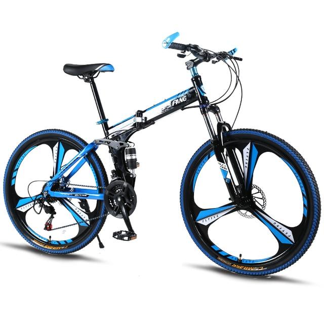 """Горный велосипед 21 скорость 26 """"-дюймовый складной велосипед велосипеды унисекс ударопрочный каркас велосипед спереди и сзади механик"""