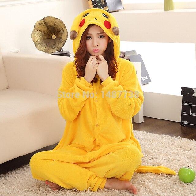 7fddba37dd Kigurumi Sleepsuit Adult Cartoon Yellow Pikachu Onesie Unisex Animal  Children Onesies Costumes Sleepwear Pajamas Cosplay