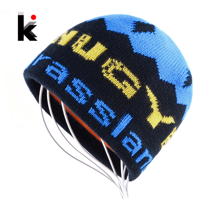2017 Winter Skullies Men's Beanies Hat Add Velvet Hip-Hop Hats Knitted Letters Caps Boys Bonnets For Men Gorros homens Inverno skullies