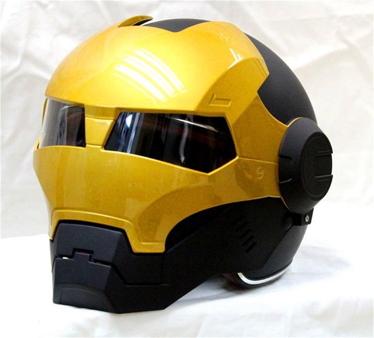 Livraison gratuite top abs moto biker casque masei iron man personnalité spécial mode moitié ouvert visage motocross casque noir masei