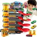Большой размер 5 слой трек 4 шт. мини сплава автомобиля города парковка тема DIY образования игрушка для мальчиков слот машина с лифтом против томас автомобиль