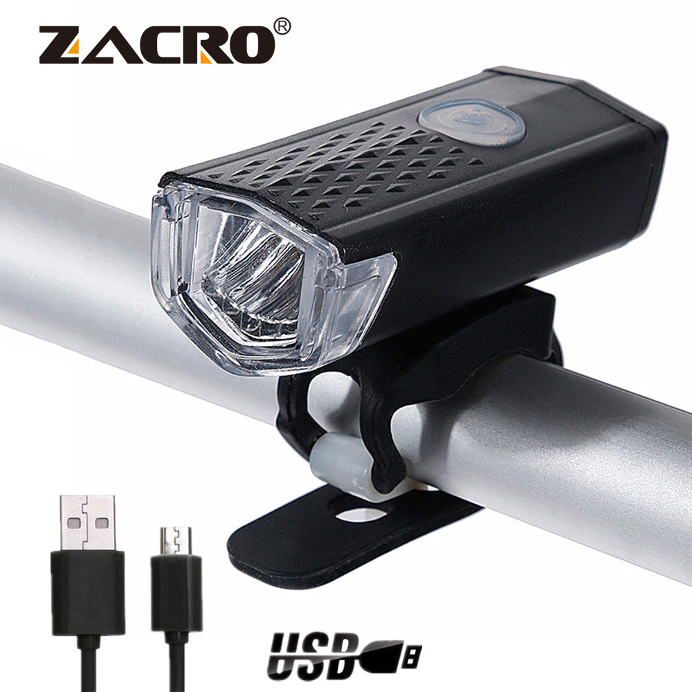 Zacro Rechargeable Bike Light 300 Lumen 3 Modes Headlight Bike 6000K Bicycle Flashlight Dynamo Light Front Running Lights(China)
