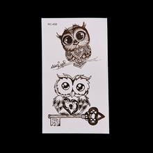8 шт Сова боди-арт Сексуальная Водонепроницаемая временная татуировка из хны поддельные флэш-тату переводные наклейки для мужчин и женщин