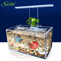 Saim USB Desktop Mini Fish Tank Aquarium LED Lamp Fish Bowl Light Acrylic Fighting Fish Tank Isolated Plastic Fishbowl Box JJ511