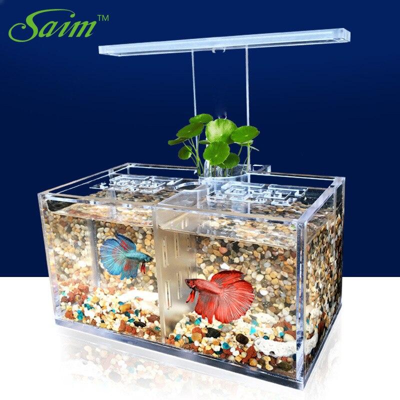 Saim USB bureau Mini aquarium LED pour aquarium lampe poisson bol lumière acrylique combat réservoir de poisson isolé en plastique Fishbowl boîte JJ511