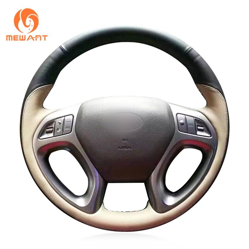MEWANT Black Leather Beige Leathe Car Steering Wheel Cover for Hyundai ix35 2011-2015 Tucson 2 2010 2011 2012 2013 2014 2015 mewant wine red leather black suede car steering wheel cover for chevrolet cruze 2009 2014 aveo 2011 2014 orlando 2010 2015