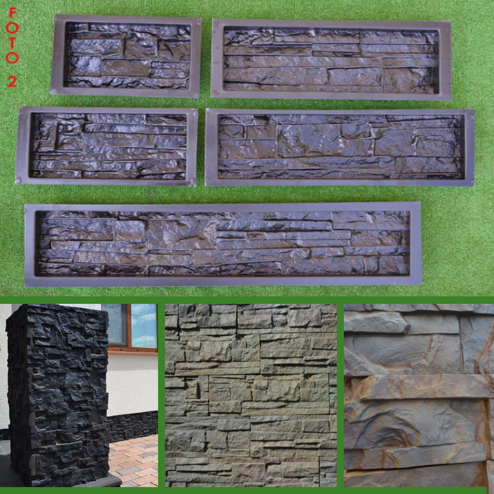 Ornamental garden walls - High Quality 5 Pieces Lot Plastic Molds For Concrete Plaster Wall Stone Tiles Brick Maker