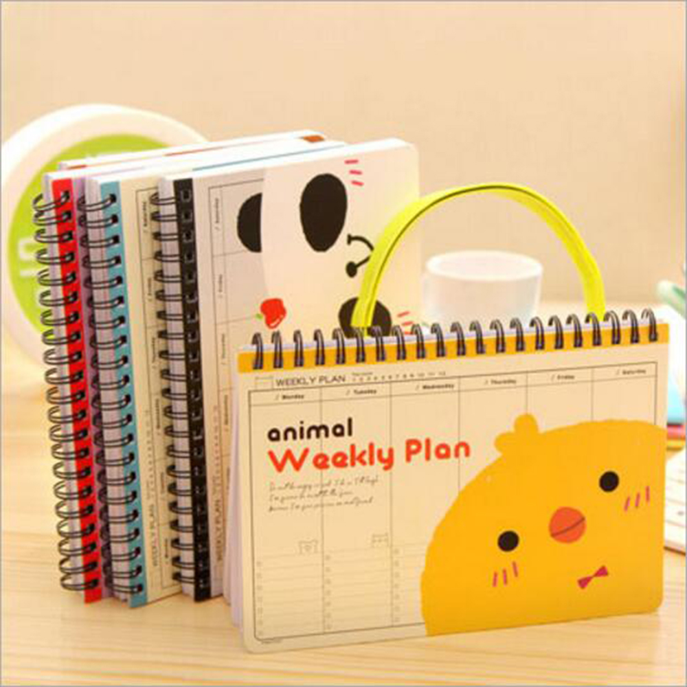 Cute Animal Coil Weekly Plan Planner Of Table Calendar Kawaii Daily Schedule Table Organizer Office School Spiral Diary Book office international des dictionary of animal health terminology
