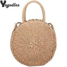 f0d51bcba6ea Сумки ручной работы из соломы круг ротанга сумка для женщин небольшой  богемный пляжная летняя дорожная сумки